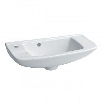 Small Wall Mount Sink Porcelain White with Overflow Left Side Faucet Hole