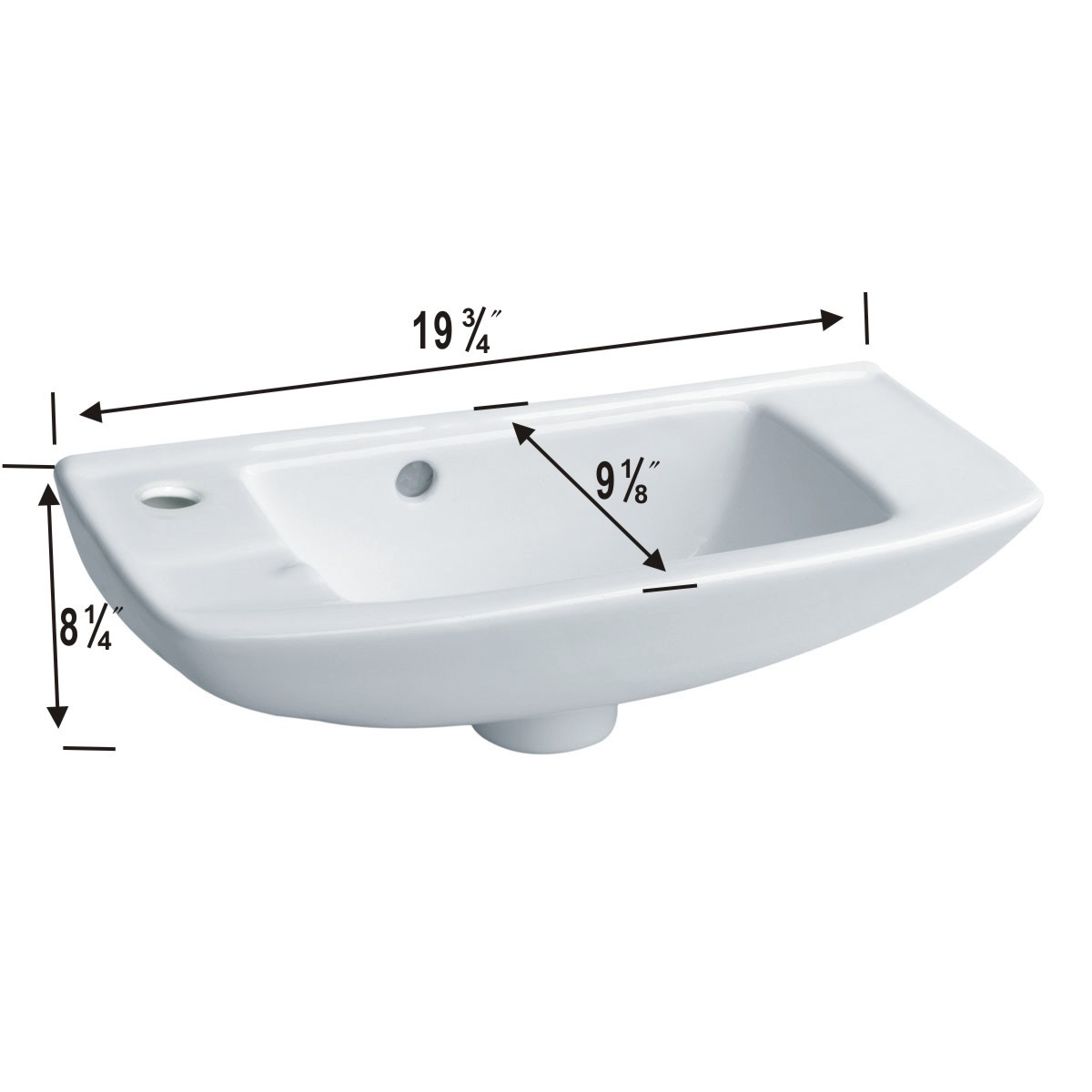 <PRE>Small Wall Mount Sink Porcelain White with Overflow Left Side Faucet Hole</PRE>