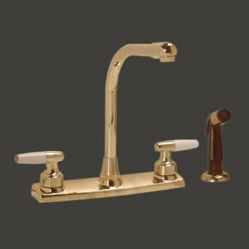 Brass Widespread Kitchen Faucet High Neck 2 Handles Sprayer Sink Faucet Sink Faucets Faucets