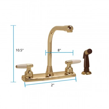 spec-<PRE>Brass Widespread Kitchen Faucet High Neck 2 Handles Sprayer </PRE>