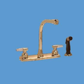 spec-<PRE>Widespread Kitchen Faucet Brass High Neck 2 Handles Sprayer </PRE>