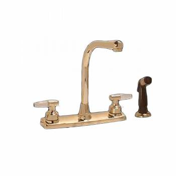 Widespread Kitchen Faucet Brass High Neck 2 Handles Sprayer 95747grid