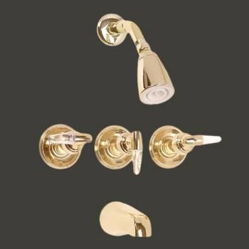 <PRE>Tub Faucet Brass Tub/Shower Set w/3 Handles Wall Mount </PRE>