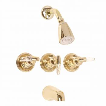 Tub Faucet Brass TubShower Set w3 Handles Wall Mount