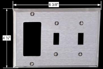 spec-<PRE>Switchplate Satin Stainless Steel Double Toggle/GFI </PRE>