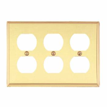 <PRE>Switchplate Bright Solid Brass Triple Outlet </PRE>zoom1