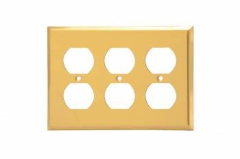 Switchplate Brushed Solid Brass Triple Outlet Switch Plate Wall Plates Switch Plates
