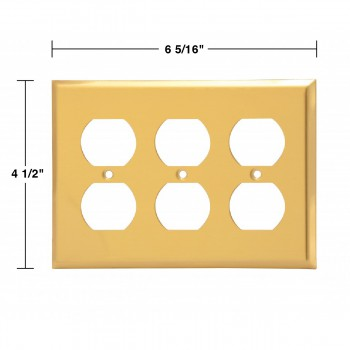 spec-<PRE>Switchplate Brushed Solid Brass Triple Outlet </PRE>