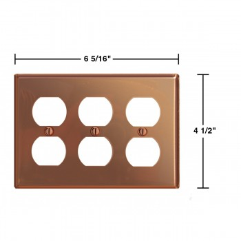 spec-<PRE>Switchplate Bright Solid Copper Triple Outlet </PRE>
