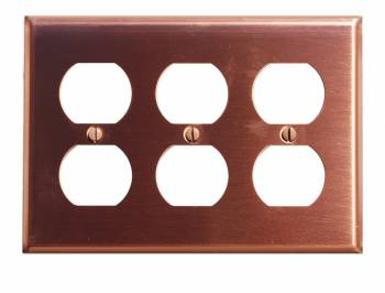 Switchplate Brushed Solid Copper Triple Outlet Switch Plate Wall Plates Switch Plates