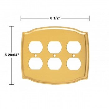 spec-<PRE>Switchplate Bright Solid Brass Triple Outlet </PRE>