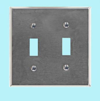 <PRE>Switchplate Brushed Stainless Steel Double Toggle </PRE>