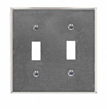 Switchplate Brushed Stainless Steel Double Toggle 95824grid