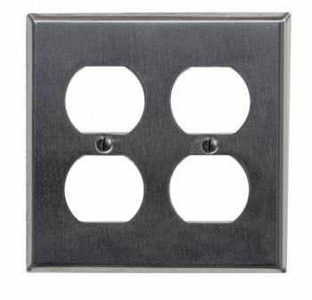 <PRE>Switchplate Brushed Stainless Steel Double Outlet </PRE>zoom1