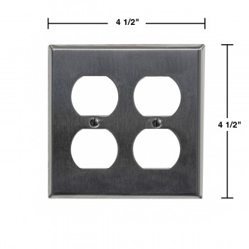 spec-<PRE>Switchplate Brushed Stainless Steel Double Outlet </PRE>