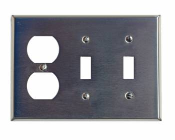Switchplate Brushed Stainless Steel 2 Toggle/Outlet 95831grid
