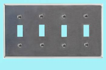 <PRE>Switchplate Brushed Stainless Steel Four Toggle </PRE>zoom2
