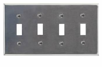 Switchplate Brushed Stainless Steel Four Toggle 95833grid