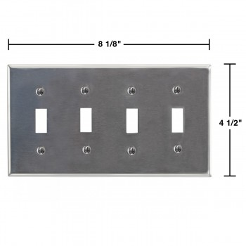 spec-<PRE>Switchplate Brushed Stainless Steel Four Toggle </PRE>