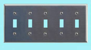 <PRE>Switchplate Brushed Stainless Steel Five Toggle </PRE>zoom2