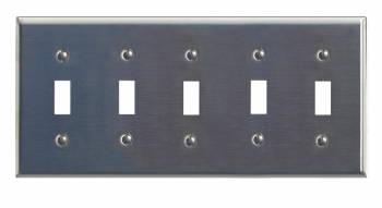 Switchplate Brushed Stainless Steel Five Toggle 95834grid
