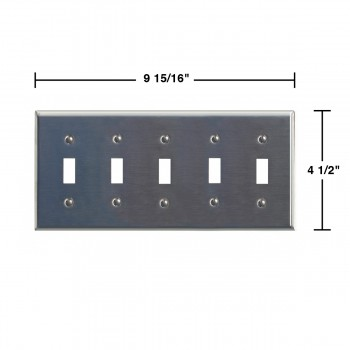 spec-<PRE>Switchplate Brushed Stainless Steel Five Toggle </PRE>