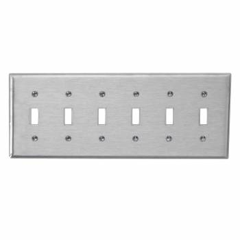 Switchplate Brushed Stainless Steel Six Toggle 95835grid