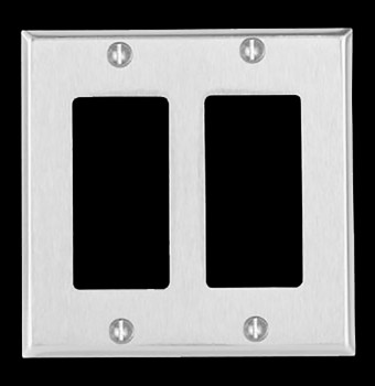 <PRE>Switchplate Brushed Stainless Steel Double GFI </PRE>zoom3