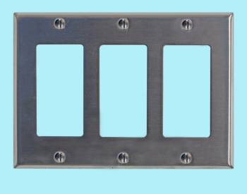 <PRE>Switchplate Brushed Stainless Steel Triple GFI </PRE>zoom2