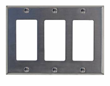 Switchplate Brushed Stainless Steel Triple GFI 95841grid