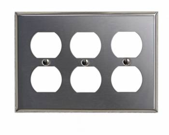 <PRE>Switchplate Brushed Stainless Steel Triple Outlet </PRE>zoom1