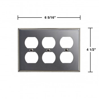 spec-<PRE>Switchplate Brushed Stainless Steel Triple Outlet </PRE>