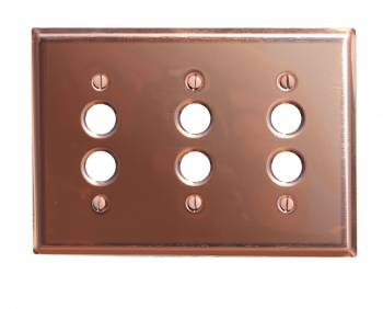 Switchplate Bright Solid Copper Triple Pushbutton Switch Plate Wall Plates Switch Plates