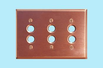 Switchplate Brushed Solid Copper Triple Pushbutton Switch Plate Wall Plates Switch Plates