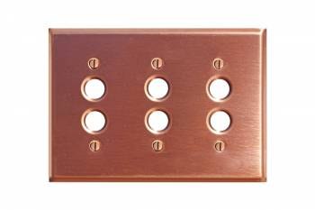 Switchplate Brushed Solid Copper Triple Pushbutton 95853grid
