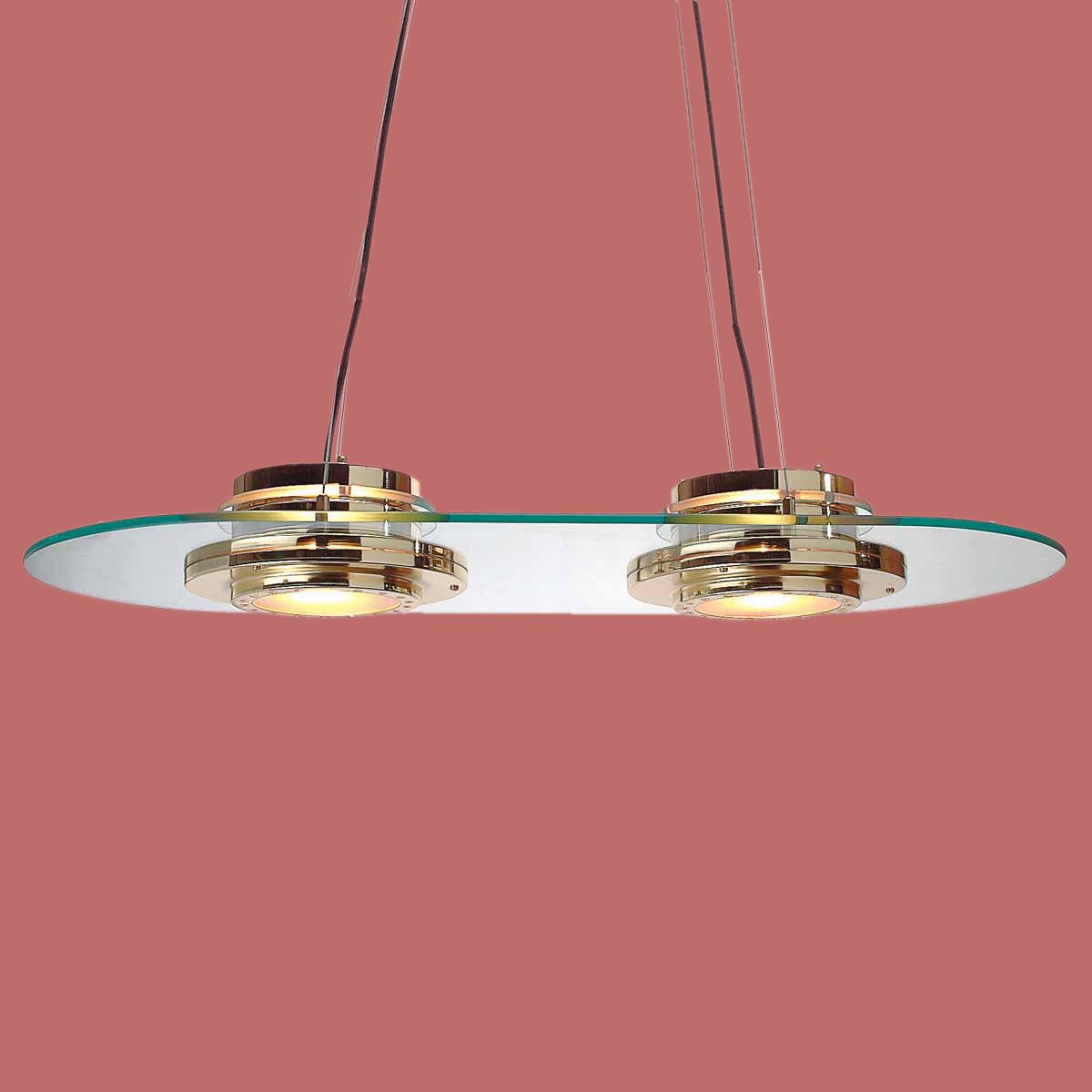 Bright Brass/Glass Ceiling Light