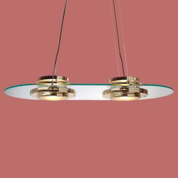 <PRE>Halogen Ceiling Glass Pendant 2 Lights Bright Brass </PRE>zoom2