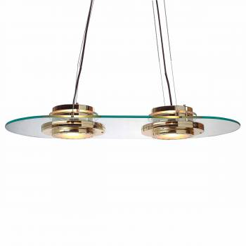 <PRE>Halogen Ceiling Glass Pendant 2 Lights Bright Brass </PRE>zoom1