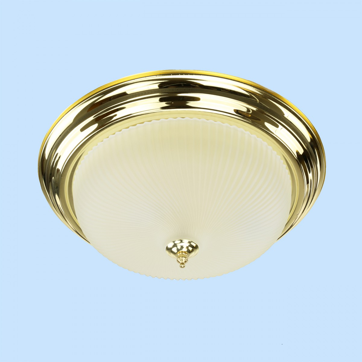 Ceiling Light Brass Flush Mount Frost Swirl 15 1/4