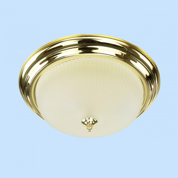 <PRE>Ceiling Light Brass Flush Mount Frost Swirl 15 1/4 </PRE>zoom2