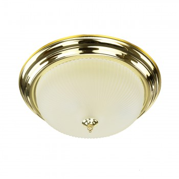 <PRE>Ceiling Light Brass Flush Mount Frost Swirl 15 1/4 </PRE>zoom1