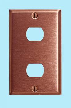 spec-<PRE>Switchplate Brushed Solid Copper Double Interchangeable </PRE>