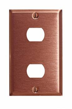 <PRE>Switchplate Brushed Solid Copper Double Interchangeable </PRE>zoom1