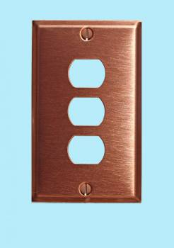 Switchplate Brushed Solid Copper Triple Interchangeable Switch Plate Wall Plates Switch Plates