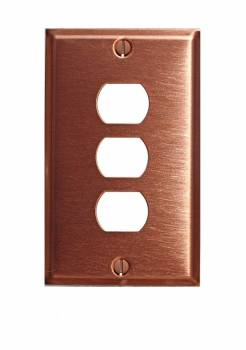 Switchplate Brushed Solid Copper Triple Interchangeable 96043grid