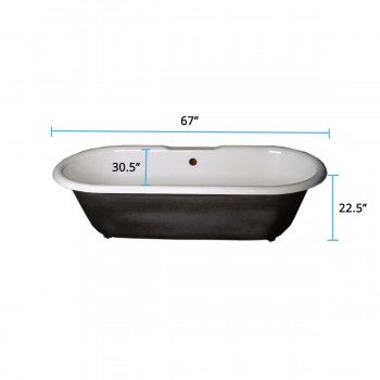 spec-<PRE>Primed Black Cast Iron Clawfoot Tub FEET NOT INCLUDED </PRE>