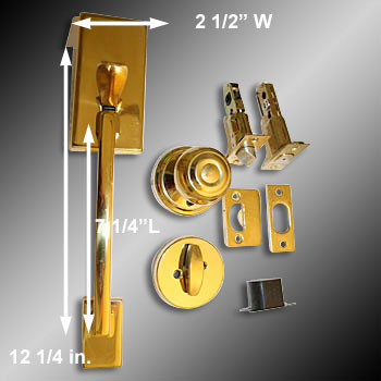 "spec-<PRE>Door Locks Solid Brass Entrance Set 12.25""L x 2 3/8"" Backset</PRE>"
