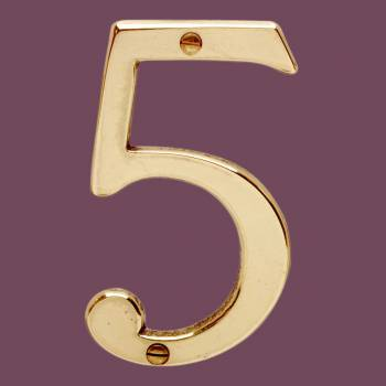 Bright Solid Brass 3 78 Address House Number 5 | Renovator Supply Mail Box Numbers Mailbox Numbers House Number