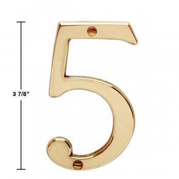 "spec-<PRE>Bright Solid Brass 3 7/8"" Address House Number '5' | Renovator Supply</PRE>"