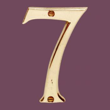 <PRE>Bright Solid Brass 3 7/8inch Address House Number '7' </PRE>zoom2